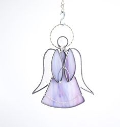 Lavender Stained Glass Angel Suncatcher  Window by Nostalgianmore Flint, Michigan Made in USA