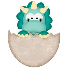 Silhouette Design Store: Triceratops Dinosaur In Egg Dinosaur Images, Cartoon Dinosaur, Cartoon Unicorn, Die Dinos Baby, Baby Dinosaurs, Dinosaur Eggs, Cute Dinosaur, Baby Animal Drawings, Dinosaur Birthday Party