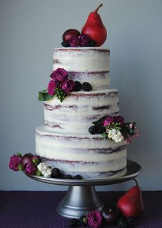 27 Naked Fall Wedding Cakes That Will Make Your Mouth Water: #14. Fall wedding cake with pears, blackberries and purple flowers