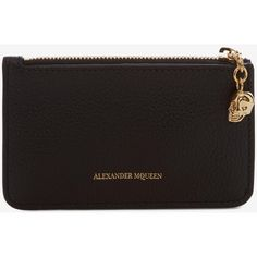 Alexander McQueen Zipped Card Holder ($320) ❤ liked on Polyvore featuring bags, wallets, black, coin pouch, alexander mcqueen wallet, embossed wallet, change purse and skull coin purse