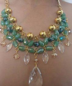 155a35626362 Set Collar Y Aretes De Perla Y Cristal Moda Bisuteria Fina -   195.00