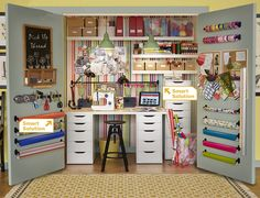 Ikea...instead of a craft room a crafty closet.  Love it!
