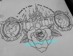 Upper back Disney tattoo! Would be amazing in color