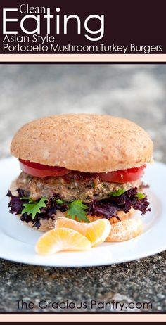 """Clean Eating Asian Style Portobello Mushroom Turkey Burgers.    If you are looking for more healthy recipes, fitness advice and motivation check/like my facebook page """"Hari Fitness"""" for more ideas!"""