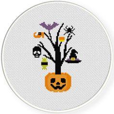 FREE doe September 22nd 2015 Only - Happy Halloween Tree Cross Stitch Pattern
