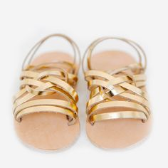 gold little girl leather sandals // these are adorable
