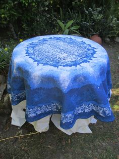 The Blue round Batik Tablecloth by goldphinbatik on Etsy Me Clean, Sell On Etsy, The Help, Ottoman, Fine Art, Outdoor Decor, Pattern, Prints, Blue