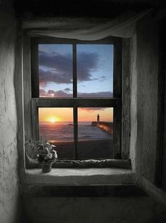wonderful ocean view, lighthouse and sunset. from inside Looking Out The Window, Through The Looking Glass, Beautiful World, Beautiful Places, Beautiful Pictures, Beautiful Sunset, Ventana Windows, Window View, Through The Window