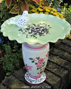 Garden Totem Shabby Chic Bird Feeder  As by GardenWhimsiesByMary, $35.00