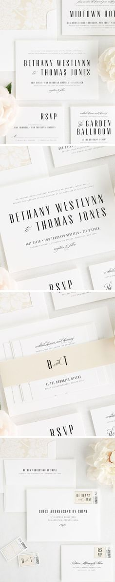 This mid-century inspired wedding invitation suite is the perfect mix of understated elegance. A stunning display font is paired with a romantic script to make a subtle statement. Wrap our Mid Century Romance wedding invitations with a champagne belly band and complete it with floral liner to match. The delicate script and bold serif font creates a sophisticated and classic look. Create your perfect wedding stationery- click here to get started!