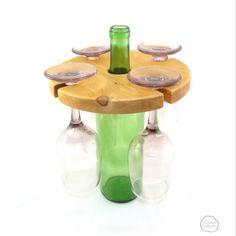 Pine wine bottle glass holder - round