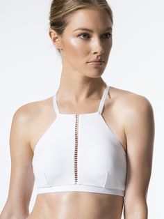 Barre Medium Support Sport Bra in White by Michi from Carbon38