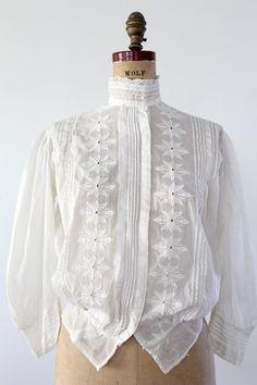Antique Edwardian Blouse / 1900s White Top - 86 Vintage