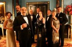 """David Suchet as Hercule Poirot and the cast from TV adaption of """"Cards On The Table."""" Among them are Zoe Wanamaker as Ariadne Oliver and Lyndsey Marshal as Miss Meredith. Hercule Poirot, Agatha Christie's Poirot, Miss Marple, Best Mysteries, Cozy Mysteries, Murder Mysteries, Tristan Gemmill, Cards On The Table, Death On The Nile"""