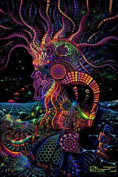 Psychedelic UV Backdrop Fluoro Runner Psy Deko Wandbehang x Hippie Goa Tuch Kunst Goa, Mandala Nature, Image Mandala, Psychadelic Art, Psychedelic Tapestry, Japon Illustration, Trippy Wallpaper, Psy Art, Visionary Art