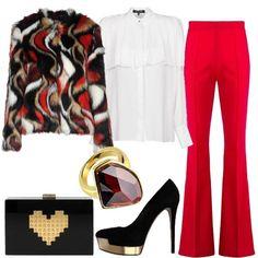 Camicia e pantalone rosso  outfit donna Trendy per serata fuori  3f91b15bf22