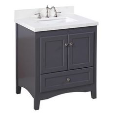 Kitchen Bath Collection Abbey Bathroom Vanity with Marble Countertop, Cabinet with Soft Close Function & Undermount Ceramic Sink, Carrara/Charcoal Gray 30 Inch Bathroom Vanity, 24 Inch Vanity, Small Bathroom, Bathroom Vanities, Bathroom Ideas, Bathroom Cabinets, Modern Bathroom, Bathroom Updates, Bathroom Makeovers