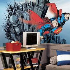 Superman™ XL Wall Mural x Superman™ XL Wall Mural x Superman™ Chair Rail Prepasted Mural x The Man of Steel is bigger than ever! This Superman XL Wall Mural is not just big, it is huge! A must-have for all true Superman fans. Batman Vs Superman, Superman Room, Superhero Room, Avengers, Bedroom Themes, Kids Bedroom, Bedroom Ideas, Kids Rooms, Bedroom Stuff