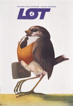 Plakat promocyjny LOT-u; 1978 r. Luggage Labels, Grunge, Bird, Deco, Posters, Animals, Wall, Historia, Poland