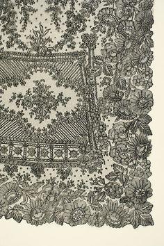 Wedding dress Date: 1869 Culture: French French Wedding Dress, Snowflake Quilt, Wedding Attire, Wedding Dresses, Passementerie, Chantilly Lace, Fabulous Fabrics, Antique Lace, Bobbin Lace