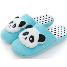 Blue Panda Face Slippers