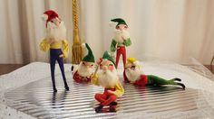 Set of 5 Vintage Wire Frame Fabric Dolls, Vintage Christmas, Gnome, Elf, Dwarf by GroovyDoozyVintage on Etsy