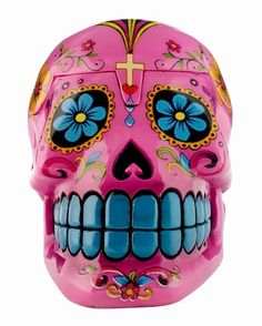 A cool pink sugar skull decorative box. #skulls #Day_of_the_Dead