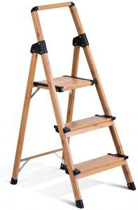 Delxo Upgrade 3 Step Stool with Tool Tray Step Ladder with Soft Handgrip Anti-Slip Widen Pedals Safe Metal Lock Design Sturdy Steel Ladder Multi-Use for Home or Office 330lbs Space Saving 3-Feet