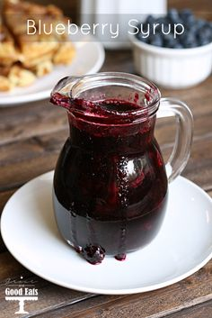 Delicious homemade blueberry syrup. Only three ingredients. Perfect for pancakes, waffles, or even over ice cream!
