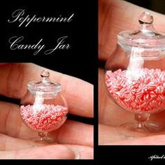 Christmas peppermint candy jar #12thscaleminiature #miniatures #dollshousefood #food #peppermint #candy