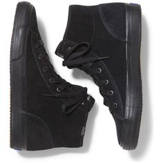 Keds DOUBLE UP HI SUEDE ($40) ❤ liked on Polyvore featuring shoes, sneakers, black black, suede shoes, black high top sneakers, suede high top sneakers, black suede sneakers and black trainers