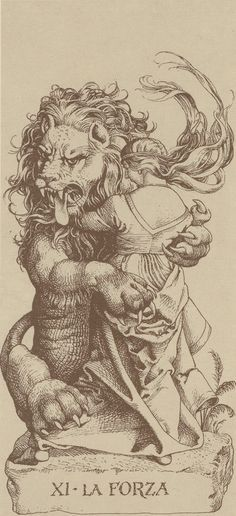 Albrecht Dürer The design of this card is fairly constant across tarot decks. The key characters are that of a woman and a lion, with the woman looking calm and gentle, yet dominant over the lion. Many cards, including that of the Rider-Waite-Smith deck, have the woman clasping the lion's jaws. Another feature of the RWS deck is a lemniscate (a kind of geometric form) hovering over the woman's head. Other decks have the woman sitting upon the lion, or merely with one hand upon it.