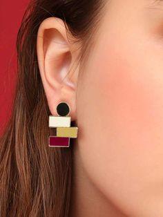 Shein Color-block Bar Drop Earrings 1pair