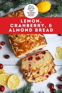 Lemon Cranberry Bread with Almonds - The Produce Moms Cranberry Bread, Cranberry Recipes, Cranberry Almond, Breakfast Recipes, Snack Recipes, Snacks, Brunch Recipes, Baking Recipes, Keto Recipes