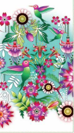 DETALLE FUNDA NÓRDICA COLIBRÍ DE CATALINA ESTRADA Cellphone Wallpaper, Iphone Wallpaper, Wallpaper Backgrounds, Decoupage, Make A Cartoon, Tropical Colors, Illustrations, Cata, Retro Art