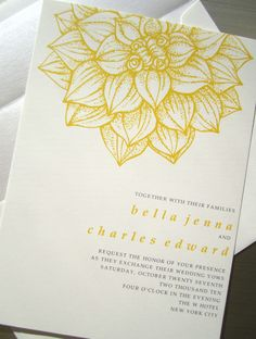lotus flower wedding invitation....  #CupcakeDreamWedding