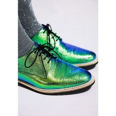 SHOE FETiSH ❤ liked on Polyvore featuring shoes, lace up oxfords, oxford lace up shoes, hologram shoes, lace up shoes and green shoes