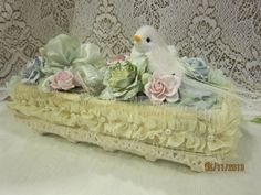 MsGardenGrove1: Shabby Chic Flower book/Lace cake box/Altered Egg carton