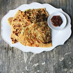 Lifafa (envelope) Parathas.  Gozlemes.  These are stuffed with leek and potatoes and served with Ginger-mango Chutney. by foodfashionparty