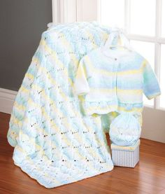 Diamonds in the Rough Set, Sweater size months (Fin. - Baby set includes enough yarn to make all three pieces. Shown in Salt Water Taffy. Knitted Afghans, Baby Afghans, Baby Blankets, Crotchet Patterns, Blue Blanket, Rough Diamond, Baby Cardigan, Knit Or Crochet, Zipper Bags