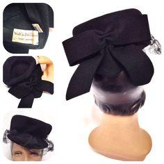 Vintage 1940s Black Bow Tilt Hat- New York Creation on Etsy, $50.00