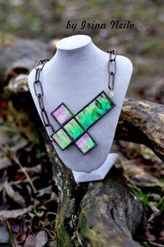 #подвеска #крестасимметрия из витражного стекла в технике тиффани от #byirinaneilo