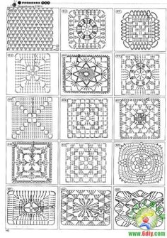Granny square patterns certainly handy to have...would be a cool blanket to mis them up