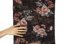 Heather Blush and Black Floral Stretch Mesh Fabric by the yard