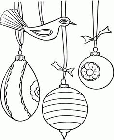 Pretty Christmas Ornaments Coloring Page