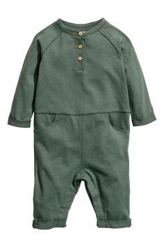 c7c69155f67 Cotton Jersey Jumpsuit - Khaki green - Kids   H&M US 1 2t Boy