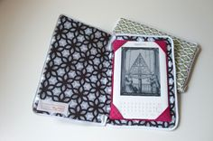 Zippered Kindle cover tutorial. I like the zipper around this, but I don't like the idea of sticking the interfacing in AFTER sewing up all the sides... Hmmm.