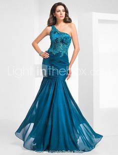 TS Couture® Formal Evening / Military Ball Dress - Vintage Inspired / Elegant Plus Size / Petite Trumpet / Mermaid One Shoulder Floor-length Chiffon Chiffon Evening Dresses, Formal Evening Dresses, Evening Gowns, Strapless Dress Formal, Cheap Wedding Dresses Uk, Bridal Dresses, Bridesmaid Dresses, Prom Dresses, Dress Prom