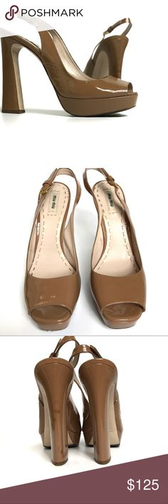 Miu Miu Nude Tan Patent Leather Peep Toe Heels Great used condition Miu Miu platform heels. Dark nude or tan color (would be nude on darker skin tone) patent leather. Peep toe and adjustable sling back. Pretty sculpted heel. Gorgeous shoes! Noticeable flaws include dark scuffs on one heels, light scuffing on sides, a faint red mark on side, and a spot on the sole where the finish is worn off (see last 3 photos for representation). Light wear to soles. Nothing so bad as to detract from the…