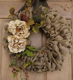 22 Beige Flower Burlap WreathBuralp by WhimsyChicDesigns on Etsy